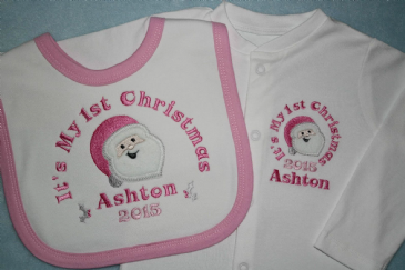 Personalised 1st First Christmas Sleepsuit & bib 2016 with pink Santa appliqué